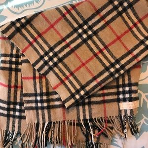 VINTAGE Burberry Classic Check Cashmere Scarf